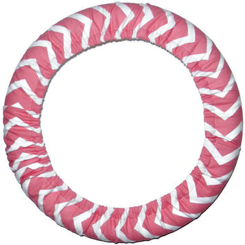 Coral Steering Wheel Cover, Cute Girly Fun Cotton Car Wheel Cover, Made in USA,Custom Car Accessory