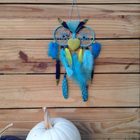 Baby Blue & Neon Green Owl Dream Catcher