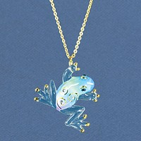 Glass Baron Tiffany Frog with Swarovski Elements and 22k Gold Trim Necklace