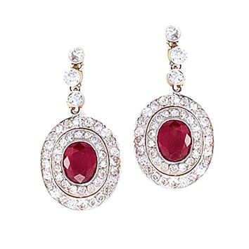 Edwardian Diamond and Ruby Earrings set in Platinum-topped Gold