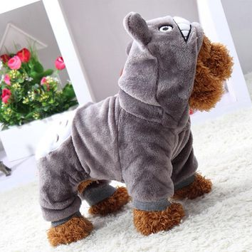 2017 New Winter Pet Costumes Lovely Totoro Cartoon Animal Cute Small Clothes For Dog Cat Animal Four Feet Cotton Pet Clothing