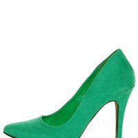 CR-01 Green Velvet Pointed Pumps - $32.00