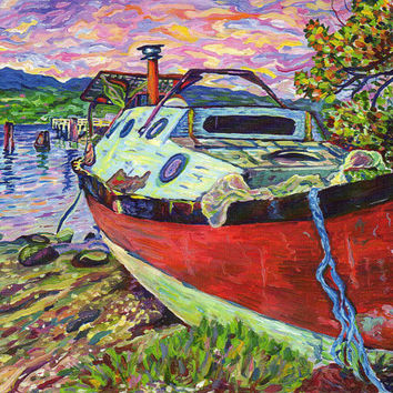 "Giclee print on canvas - Claude's Boat, Denman Island - 8"" x 10"" - Signed/Editioned"