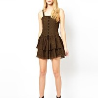 Edun Bustier Tiered Dress with Strapping at asos.com