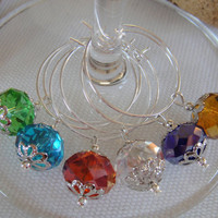 Swarovski Crystal Wine Charms Set of 6 by DeliBejeweled on Etsy