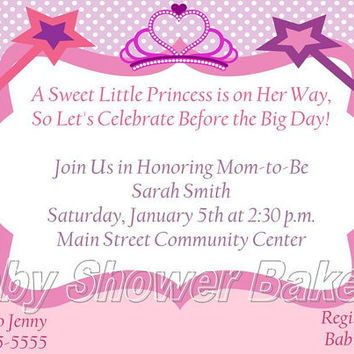 Printable Princess Baby Shower Invitation, Princess Baby Shower Invitation, Baby Princess Baby Shower