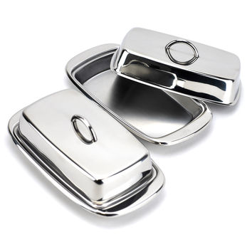 French butter dish, covered butter dish stainless steel, Silver (Pack of 2)