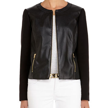 Jones New York Petites Petite Perforated Faux Leather Jacket