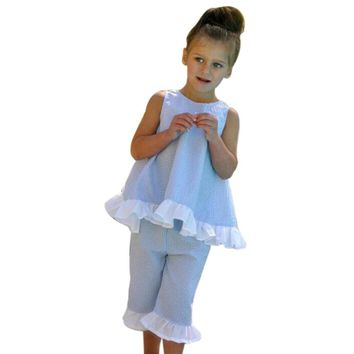 Fashion Summer 2PCS Lace Kids Baby Girl Cute Bow Vest Tops + Shorts Pants Clothes puff Sleeves Outfits Set Size 1T-7T