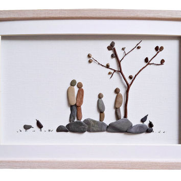 Pebble art family of four, Woodland nursery decor, New home housewarming gift, Anniversary gift idea, Family wall art, Rustic home decor