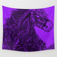 Royal Purple Horse Wall Tapestry by ES Creative Designs