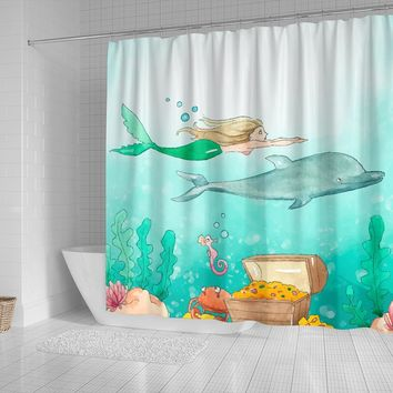 Mermaid Dolphin Water Color Shower Curtain