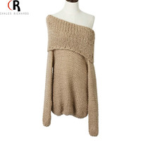 CHOIES Knitted Pullover Khaki Pink Long Sleeve Slash Neck Off the Shoulder Loose Casual Oversized Jumper 2016 Fall Women Sweater