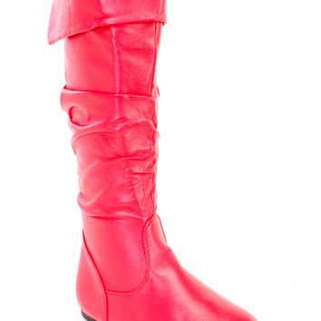 Red Cuffed Slouchy Riding Boots Faux Leather