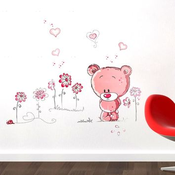 New Cute Lovely Pink Bear Nursery Girl Baby Kids Children Art Decal Wall Sticker Bedroom wall stickers home decor