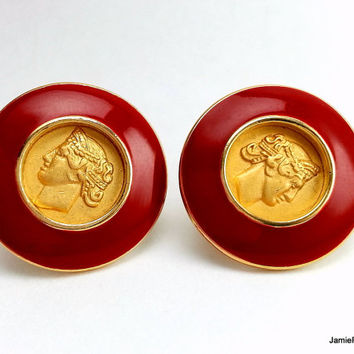 Vintage Monet Clip On Earrings, Gold Plate Medallion Greek Roman Coin Earrings, Red Enamel Earrings, Red Gold Circle Round Button Earrings