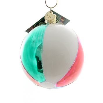 Old World Christmas Beach Ball Glass Ornament