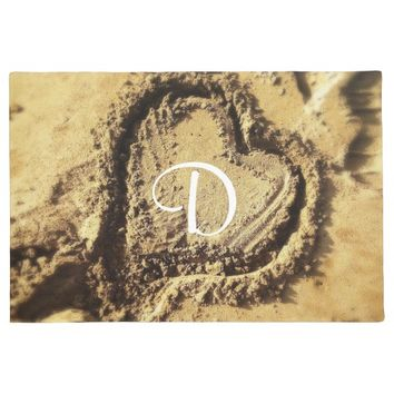 Heart in golden sand photo custom monogram doormat