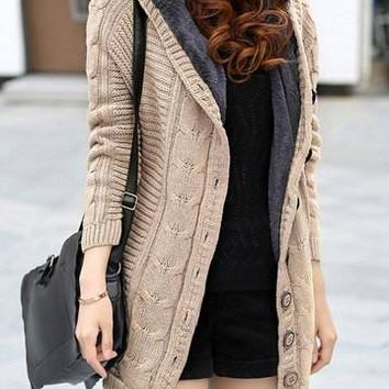 Light Khaki Cable Knit Buttoned Cardigan