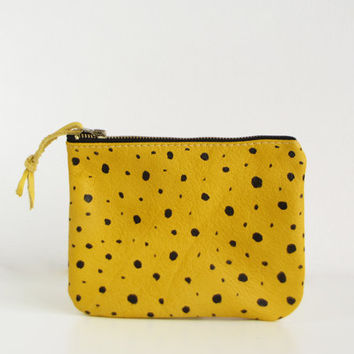 Yellow Dotted Leather pouch, Zippered pouch,Yellow purse, Cosmetic bag, Small leather purse