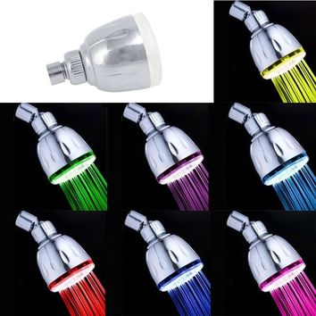 Automatic Control 7 Colors Change Water Glow LED Light Shower Head Ducha Rain Showers Heads