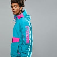 O'Neill Reissue Frozen Overhead Insulated Ski Jacket Hooded in Blue/Pink at asos.com