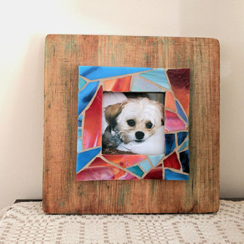 Rustic Wooden Picture Frame with Stained Glass Mosaic Border, LuLu Frame