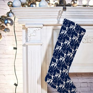 Heather Dutton Dashing Through The Snow Deer Navy Stocking