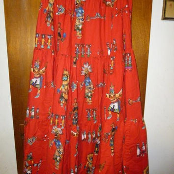 Womens Vintage Red Southwestern Kachina Full Tiered Skirt L XL Broom Skirts