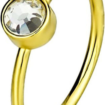 "20g Small 5/16"" Hoop Nose Ring, Yellow Gold IP Plated Surgical Steel Crystal Nose Hoop"