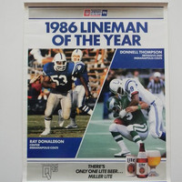 Vintage 80s Football Poster Indianapolis Colts 1986 Lineman of the Year