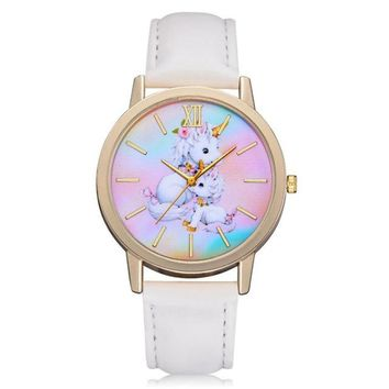 New Fashion Cute Lovely Horse Animal Kids Girls Leather Band Analog Alloy Quartz Watches reloj mujer watches Dropshipping 33