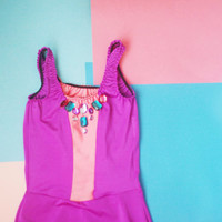 OH! / Coral and purple swimsuit