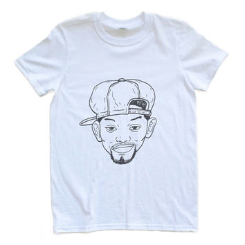 Adult Uni T Shirt Willpower Will Smith Fresh Prince of Bel Air Hand-Drawn Face Small through XL