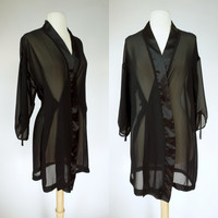 1990s sheer black robe, chiffon and satin lingerie sleep wear, small, medium to large