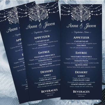 DIY Printable Wedding Menu Template | Editable MS Word file | 4 x 9.25 | Instant Download | Diamond Chandelier Navy Blue