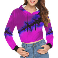 Summer Lightning and Flower Gardens Fractal All Over Print Crop Hoodie for Women (Model H22) | ID: D2479887