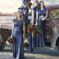 Stylish Scoop Short Sleeve Navy Blue Sequin Bridesmaid Dresses Sexy Low Back Mermaid Maid of Honor