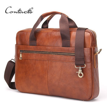 "CONTACT'S 2016 Fashion Genuine Leather Men Briefcase Cowhide Men's Messenger Bags 14"" Laptop Business Bag Luxury Lawyer Handbags"