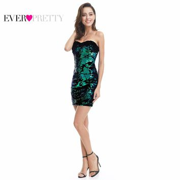 Cocktail Dresses Ever Pretty Luxurious Velvet Sequin Sparkle Style 2017 EP05823MC Sweetheart Strapless Mini Short Party Dress