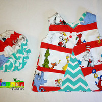 Baby Dr. Seuss dress. Reversable Open back dress with ruffle butt bloomers. All sizes. from Squishyworm