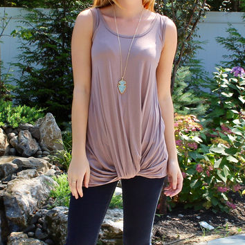 solid knot front sleeveless knit top