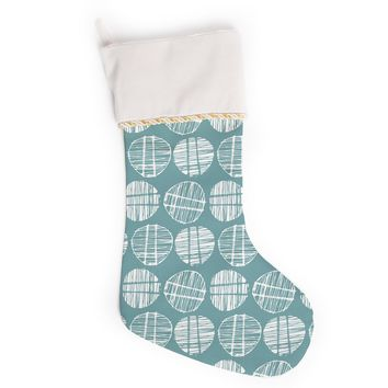 "Gill Eggleston ""Sketched Pods Teal"" Teal White Abstract Modern Vector Digital Christmas Stocking"