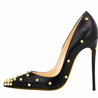 Extreme Thin Heel Shoes Woman High Heels Pumps Black Shoes Woman Sexy Pointed Toe High Heels Rivets Shoes Women Pumps FS-0028