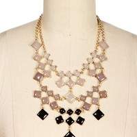 Gold Gray Ombre Square Bubble Necklace