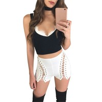 Lace Up Denim Shorts Women Hollow Out Pocket White Short Jeans Summer Casual Streetwear
