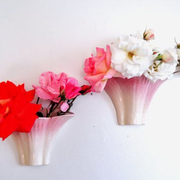 Pair of Vintage Ceramic Wall Pockets, Pink Flower Vases, Wall Hangings, Wall Vase, Hanging Planter