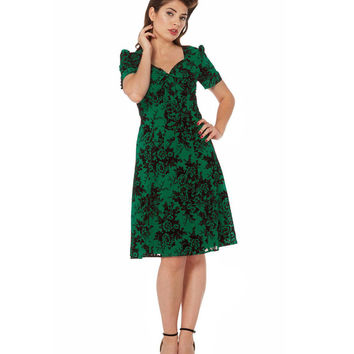Voodoo Vixen Green Chiffon A Line Dress