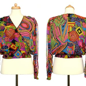 Psychedelic Blouse - Vintage Sheer Rainbow Top