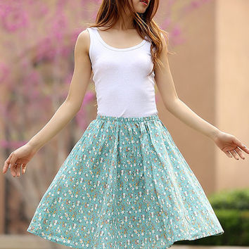cute mini skirts  floral skirt  women skirts summer skirt linen skirt  with elastic waist (954)